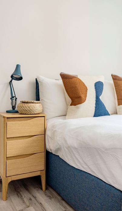 Co-living Camden Town furnished bedroom with double  bed.