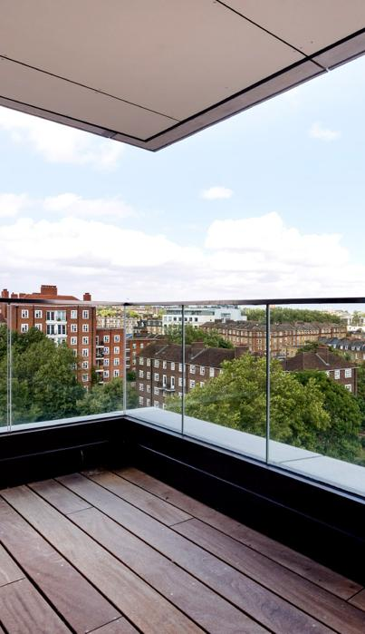 Co-living Camden Lock balcony with a view over the city.