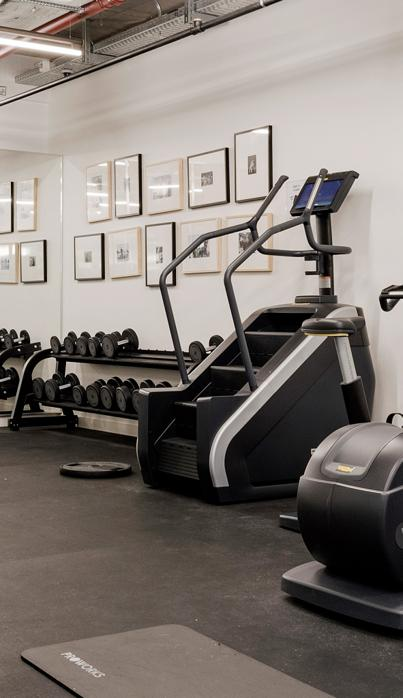 Co-living Camden Lock gym with dumbbells' rack, step machines and exercise bike.