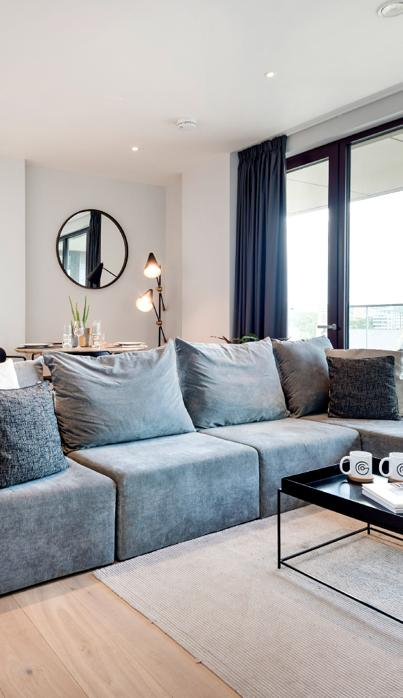 Co-living Camden Lock flat furnished living room